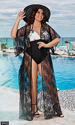 Пляжная накидка женская, кружево, черный, батал  94450 | размер 42-64