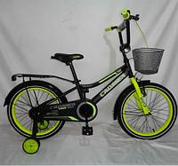 Детский двухколесный велосипед 4-8 лет Crosser  салатовый  2+2 дополнительные колеса 2+2 18 дюймов