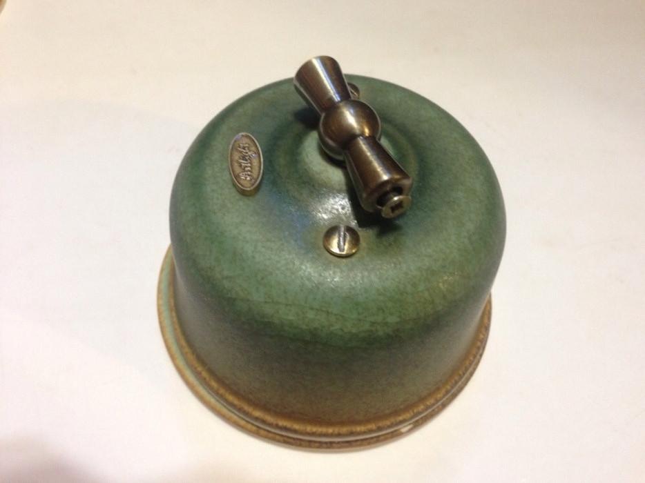Ретро выключатель фарфоровый Artlight поворотного типа,перекрестный, Lux Oliva, фурнитура дерево, бронза, хром