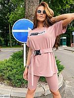 Супер модный женский летний спортивный костюм футболка оверсайз с поясом и велосипедки арт 8879