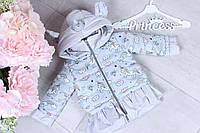 Демисезонная детская куртка для девочки «Единорожка» 80-104, голубого цвета