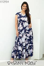Женственное платье макси с V-образным вырезом  размер: 50, 52, 54, 56