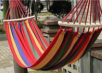 Гамак подвесной с планками из дышащей ткани   садовый   переносной   РАЗНЫЕ РАЗМЕРЫ   туристический