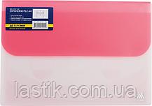 Папка-конверт TRAVEL, на липучке, А4, 4 отделения, матовый полупроз.пластик, асорти, фото 3