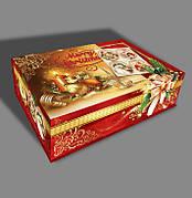 Новогодняя коробка-шкатулка Merry Christmas, до 2кг, оптом