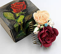 """Оригинальный подарок девушке.Гребень для волос с цветами """"Чарующий аромат""""+подарочная коробочка ручной работы"""