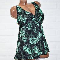 Купальник-платье большой размер 56 черный с зелеными цветами