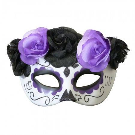 Полу маска пластик День мертвых (фиолетовая)