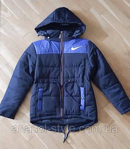 Куртка подростковая демисезонная с капюшоном на мальчика синяя с черным