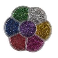 Блестки глитер 7 цветов для ногтей для лица в коробочке цветочек Творчество