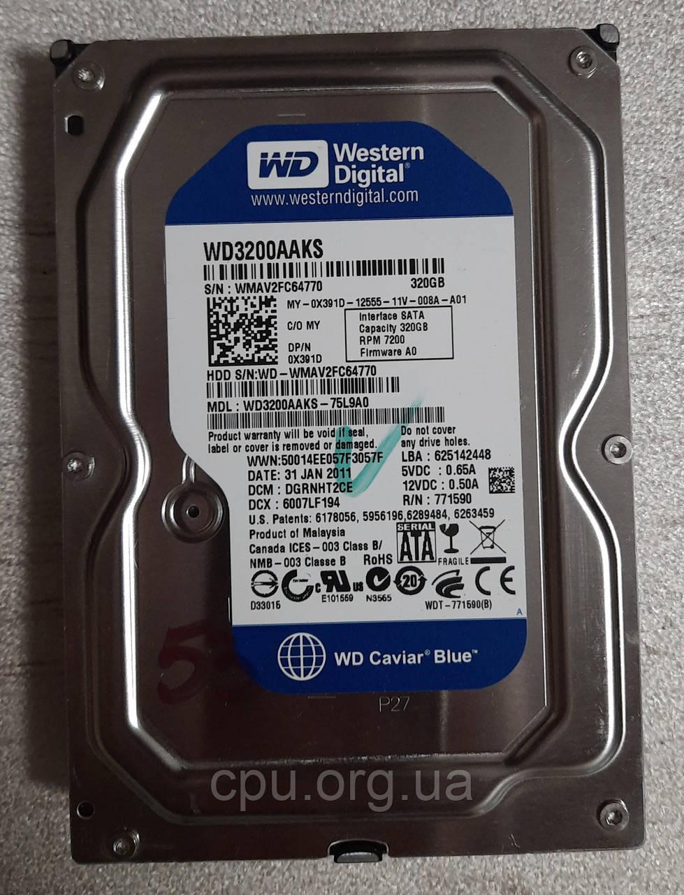 Жесткий диск HDD 3.5 320GB WD WD3200AAKS 16M 7200 об/мин