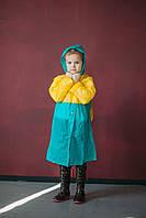 Плащ-дождевик детский водонепроницаемый Kids Rain 110-120 см Голубой с желтым (YH 868)