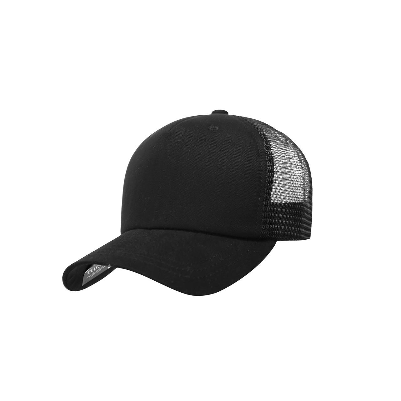 Бейсболка Трекерка  Мужская без надписи черная Black