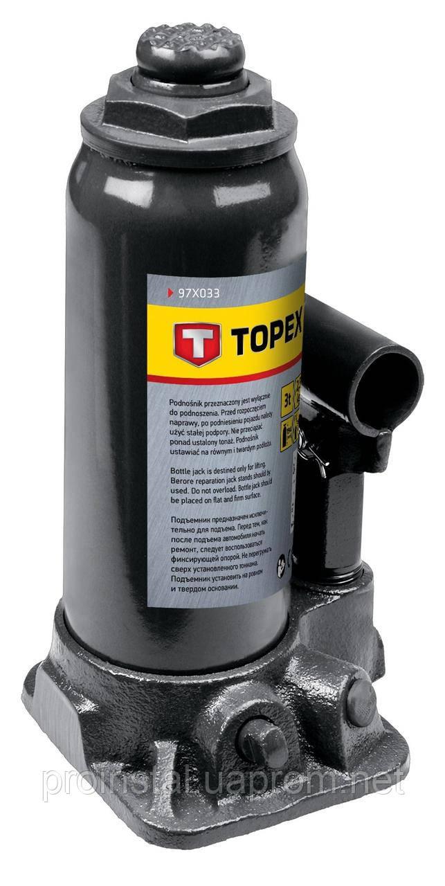 Домкрат TOPEX гидравлический бутылочный, 3 т, 195-370 мм