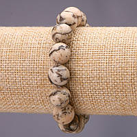 Браслет из натурального камня Пегматит Еврейский камень гладкий шарик d-12(+-)мм на резинке обхват 18см