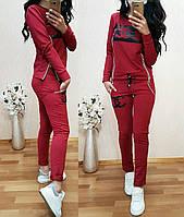 Модный спортивный костюм женский под бренд, двухнитка, размер S, M, L, XL, XXL, черный, светло-серый, бордовый