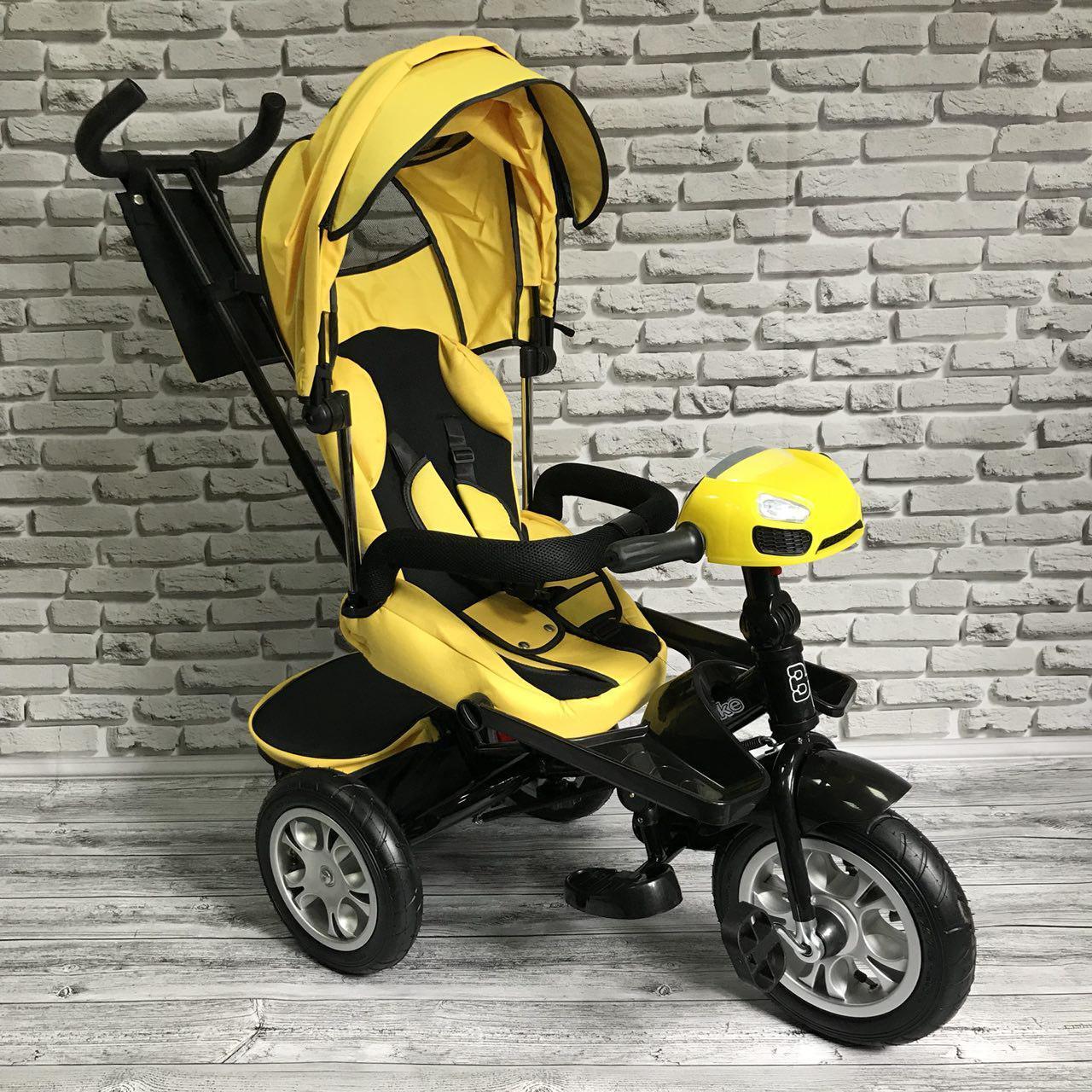 Велосипед трехколесный 5099-1 ткань лен, поворотное сиденье,музыка,надувные колеса (ЖЕЛТЫЙ)
