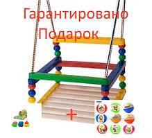 Дитяча гойдалка 0045 дерево+пластик дерев'яна гойдалка підвісна