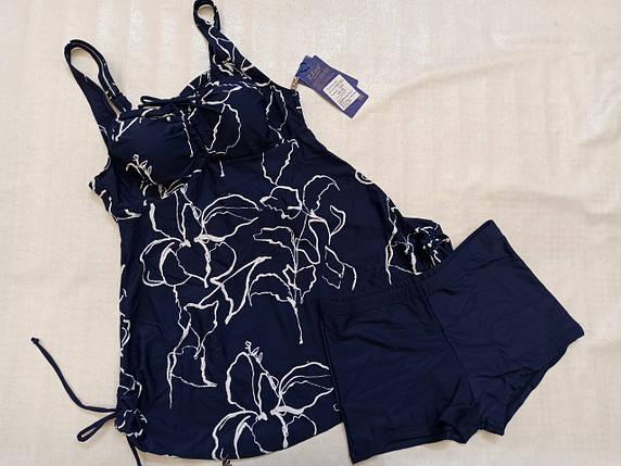 4Купальник- платье Танкини 06155 синий с белым(есть 54 56 58 60  размеры), фото 2