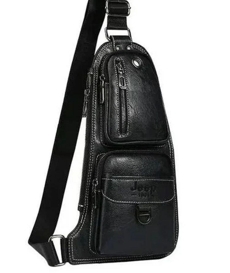 Мужская сумка Jeep через плечо рюкзак бананка, black