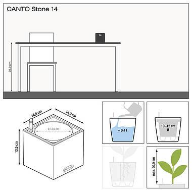 Умный вазон Lechuza CANTO Stone 14 серый камень, фото 2