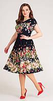 Платье Асолия-2324/2 белорусский трикотаж, тёмно-синий+полевые цветы, 48