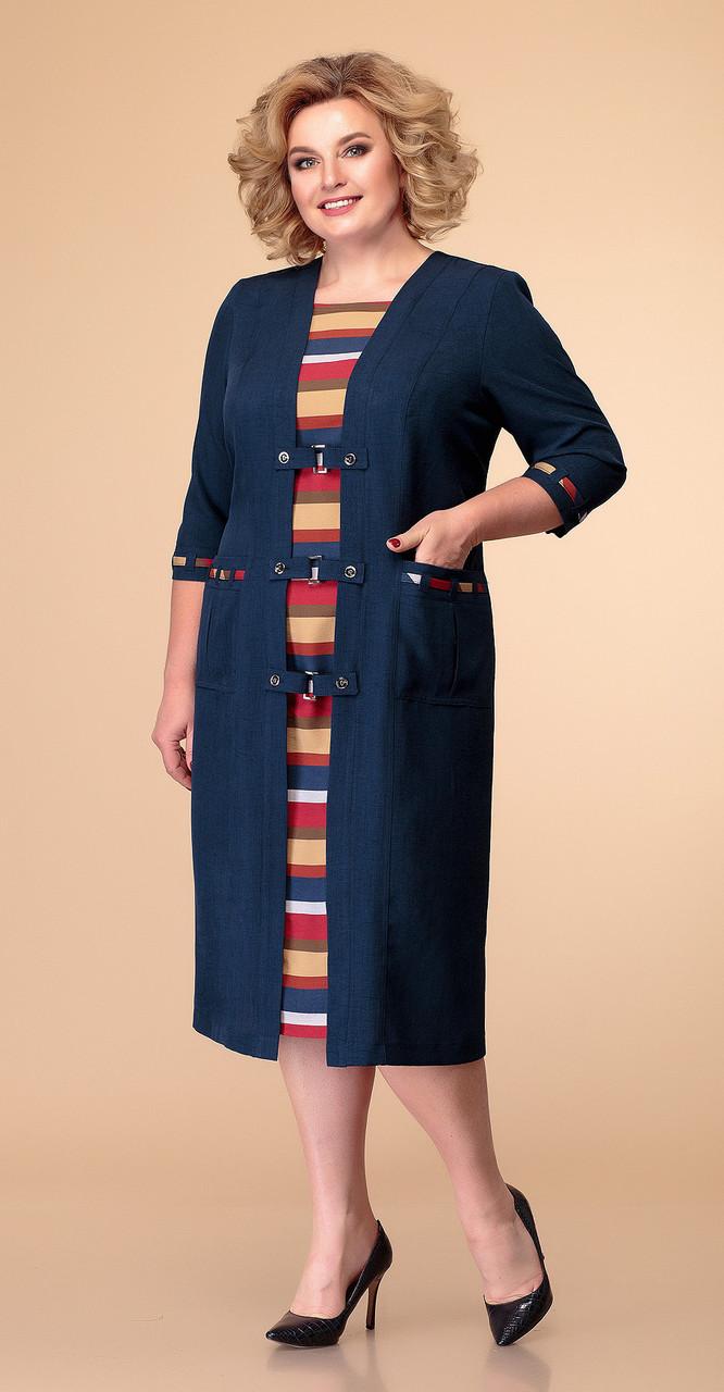 Платье Romanovich-1-051 белорусский трикотаж, черный-пудра, 60