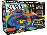 Гоночный трек Magic Tracks на 360 деталей, Детский гибкий светящийся игрушечный автотрек с мостом, 2 машинки