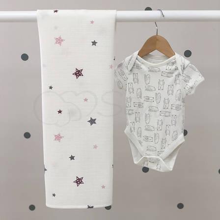 Пеленка Маленькая Соня Stars 77*100 см муслин детская с пудровыми звездами арт.4666283, фото 2