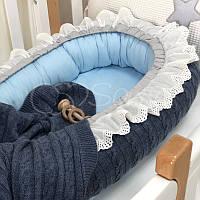 Кокон для новорожденных Маленькая Соня Вязаный 65*90 см поплин детский джинс арт.5085190