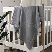 Плед Маленькая Соня Рогожка 75*90 см хлопковый вязаный детский серый арт.935352