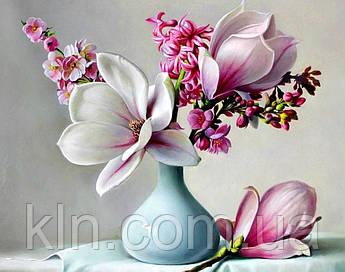 Алмазна вишивка на підрамнику 40 х 50 см Квіти магнолії (арт. TN932)