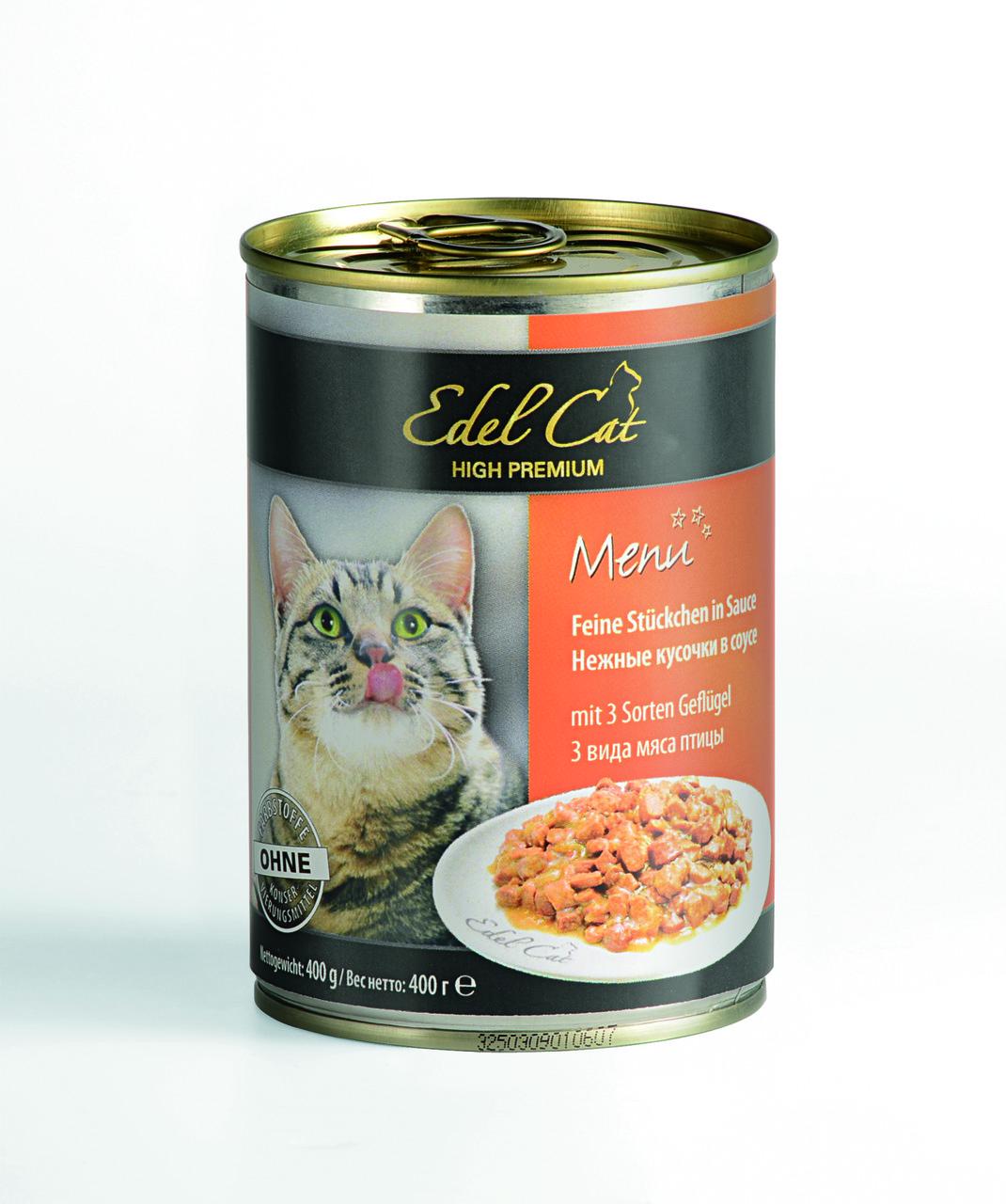 Корм консерва Edel Cat Едель Кет для котів три вида м'яса птиці 400 г
