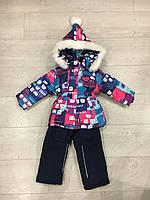 Детский зимнийкомбинезон:куртка+штаны, для девочки, 9 мес-3 года, розовый