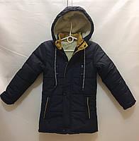 Детская зимняякурткадля мальчика 6-10лет, темно-синяя с горчичным