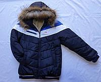 """Зимняя подростковая куртка для мальчика""""FiLa"""" 8-12 лет,темно синяя с синей вставкой"""