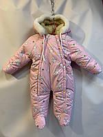 """Детский зимний комбинезон человечек для девочки """"Зайчик"""",74-86 см, розового цвета"""