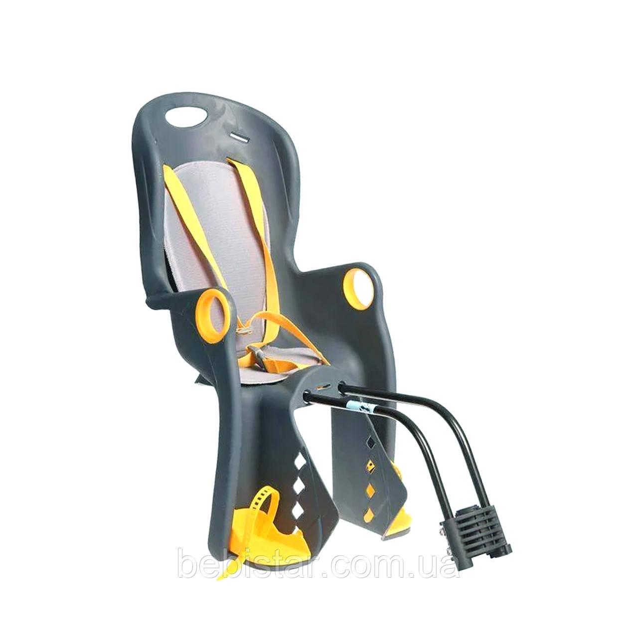 Велокресло темно-серое TILLY T-831 с установкой к подседельной трубе или на багажник с весом ребенка до 22 кг