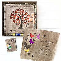 Набор из дерева - фотоальбом, открытка, коробка, 10 фраз о любви, клей-карандаш