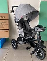 Велосипед-коляска детский трехколесный Azimut Crosser T-350 Eco Air New серый