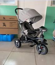 Велосипед-коляска дитячий триколісний Azimut Crosser T-350 Eco Air New світло-сірий