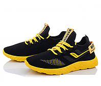 Кроссовки весенние летние сетка, текстиль черные с желтым. Размеры 42, 43, 44, 45, 46. Ideal 44.