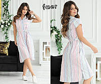 Женское летнее платье по колено с поясом 44 46 48 50 52 лен на пуговицах полоска цветная с карманами