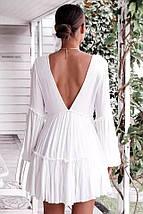 Пляжное шифоновое платье-туника белого цвета с длинным рукавом 42-46 р, фото 2