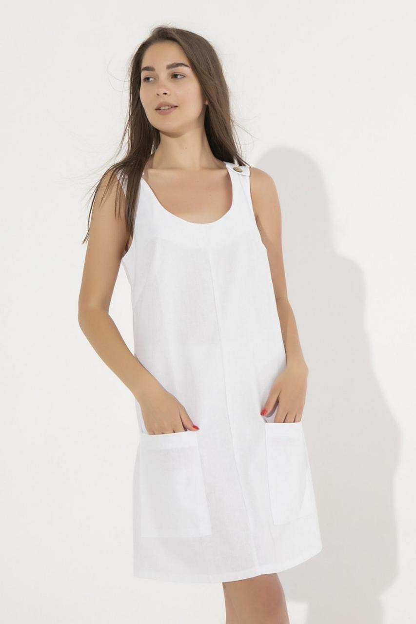 Платье с карманами, однотонное