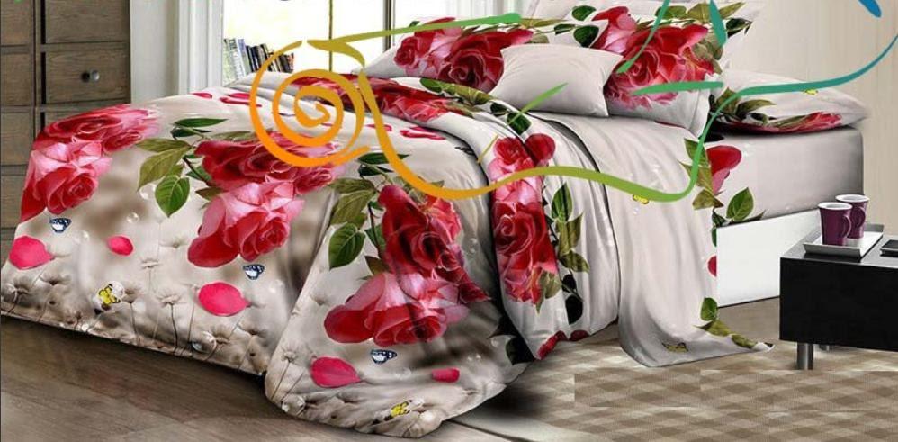 Красивое и качественное цветочное постельное белье, євро, красные розы