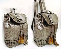 """2625 Сумка рюкзак молодежный женский заклепки экокожа """"Плетение 27*25*12см серебро золото белый черный 4 вида"""