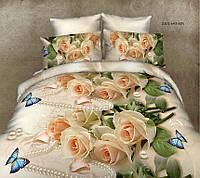Цветочное красивое постельное белье полуторка, роза