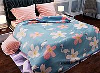 Стильное красивое постельное белье евро, фламинго и цветы