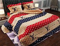 Комплект красивого и стильного постельного белья семейка, луивитон